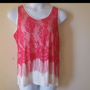 Pink Lace Fringe Summer Tank Top L NWT